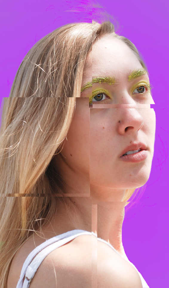 Photography series of seven portraits, each distinguished by digitized edits and solid bright backgrounds. ; Lina Barengolts
