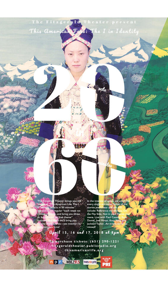 Theater Poster of a person dressing up in front of nature and the numbers 2060 ; Tracy Yang