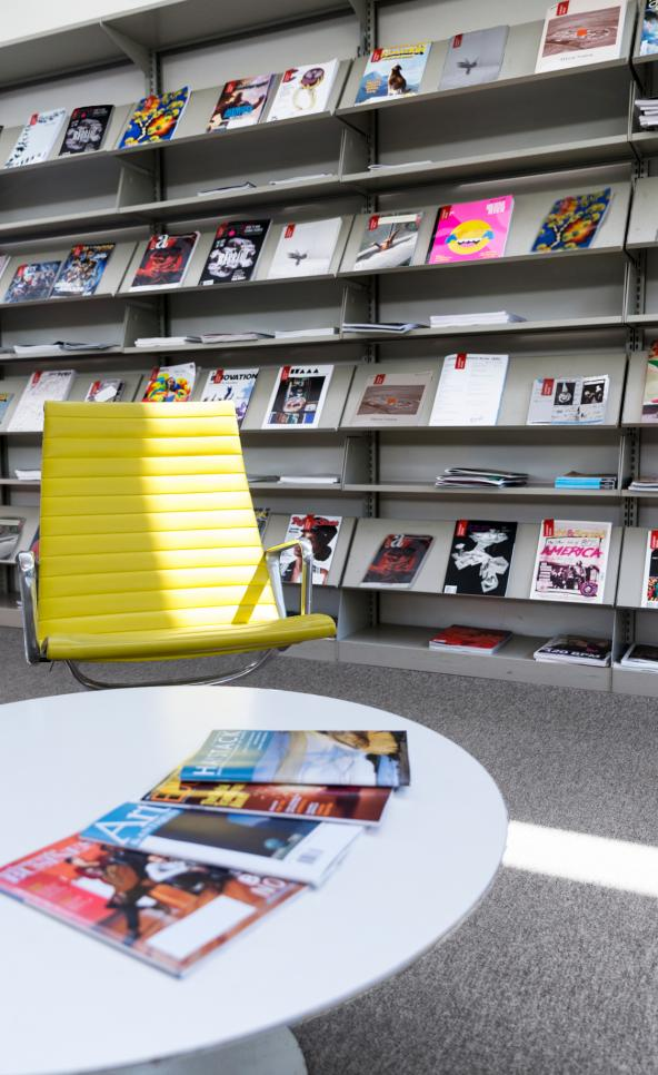 MCAD library's magazine wall