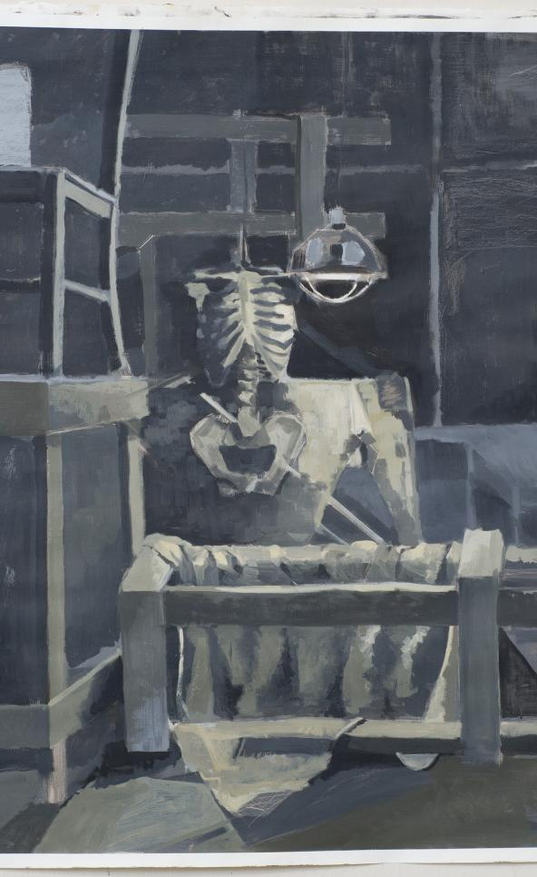 Still life painting emphasizing a skeleton in the center of the composition. ; Jonathan Herrera