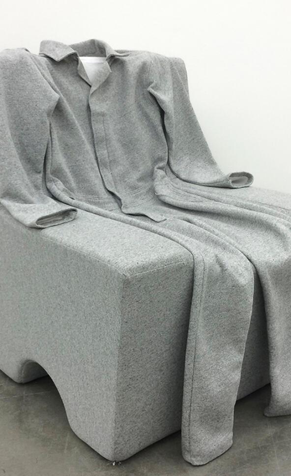Sweatsuit sofa sculpture by Brendan Barrett ; Brendan Barrett