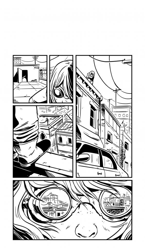 Comic page of a character, standing on a roof while the cityscape reflects in their goggles. ; Chan Chau