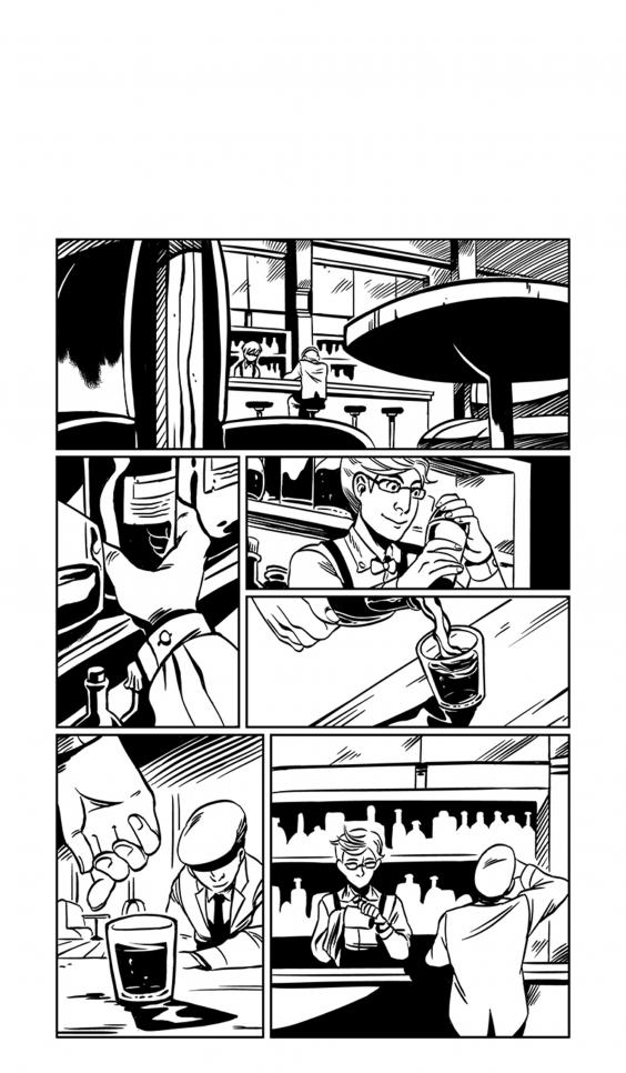 Film script adaptation comic taking place at a bar. ; Chan Chau