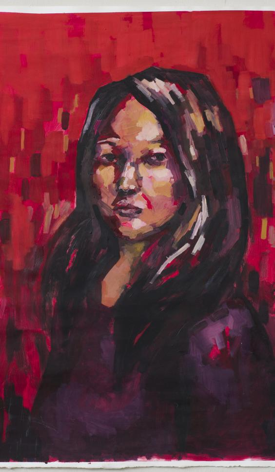 Deeply colored self portrait, of artist, painted in reds and purples ; Kiki Kita