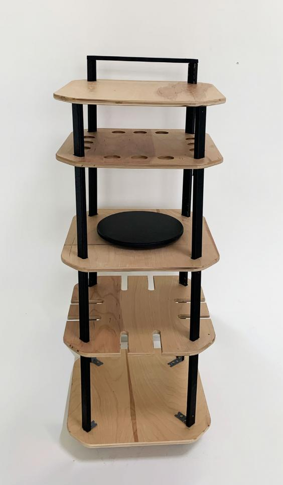 Final product and process work for wooden bar cart. ; Rosie Colacino