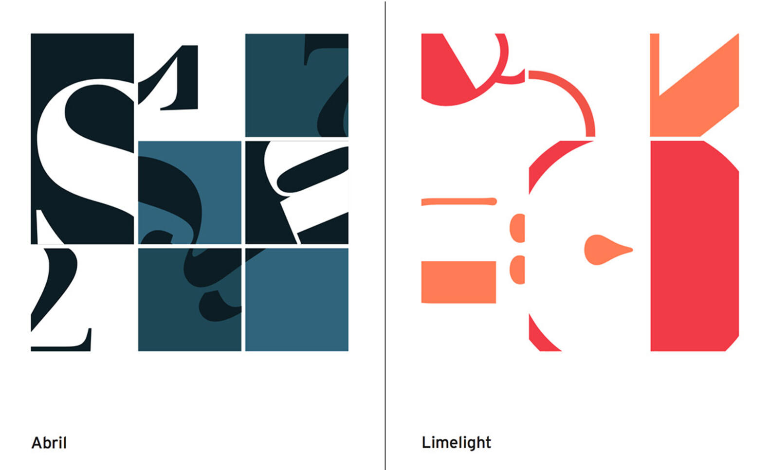 Poster of 9 paneled grids depicting different fonts and color schemes. ; Angela Boline