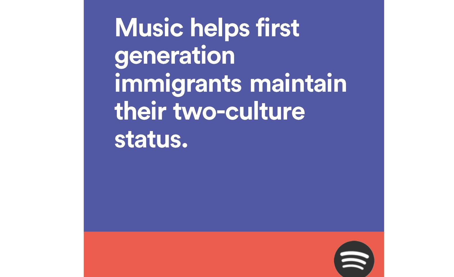 Potential Spotify advertisement with a focus on reaching out to immigrant listeners.  ; Beza Daniel