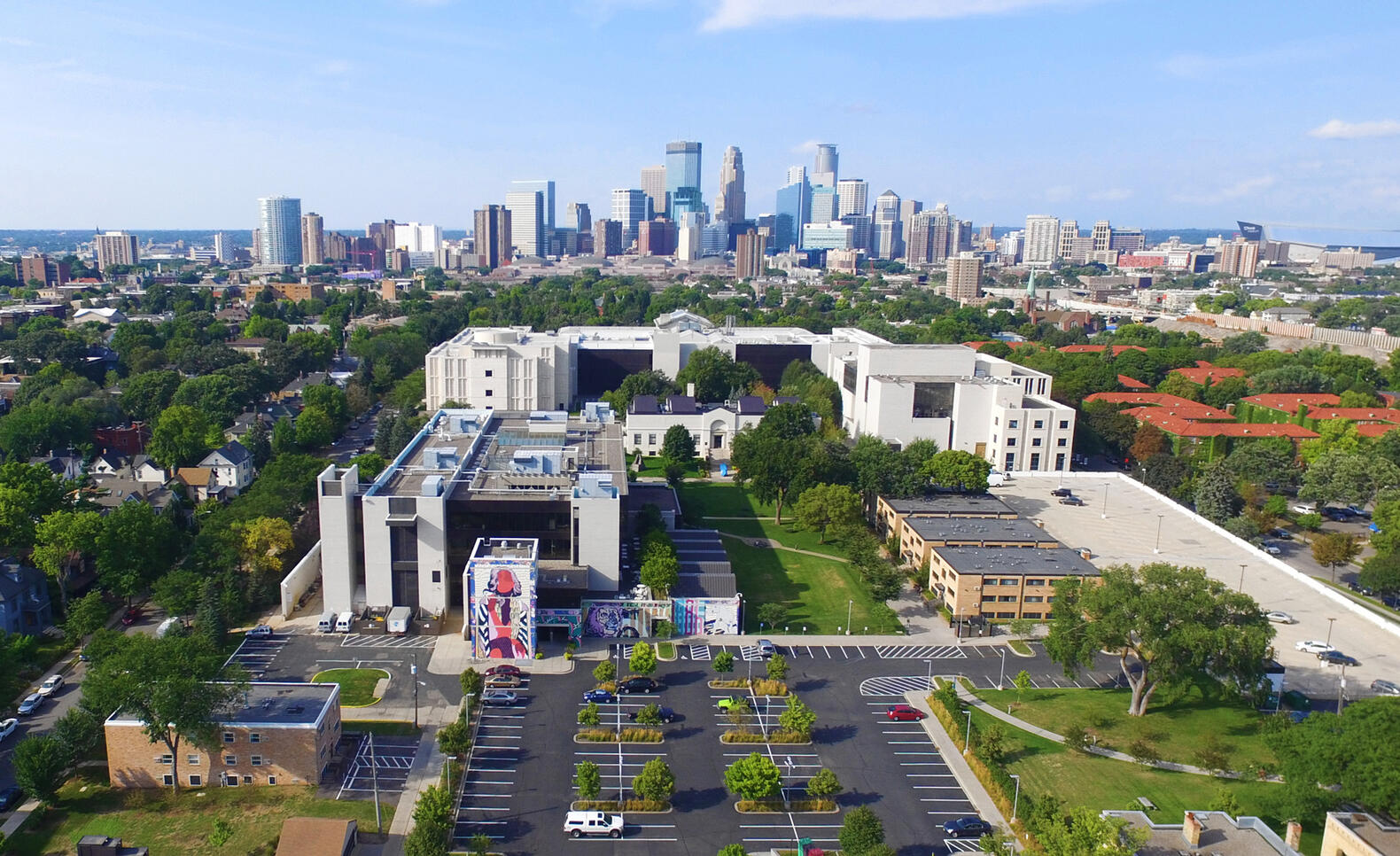 Aerial view of MCAD's campus with Mia and the minneapolis skyline in the background