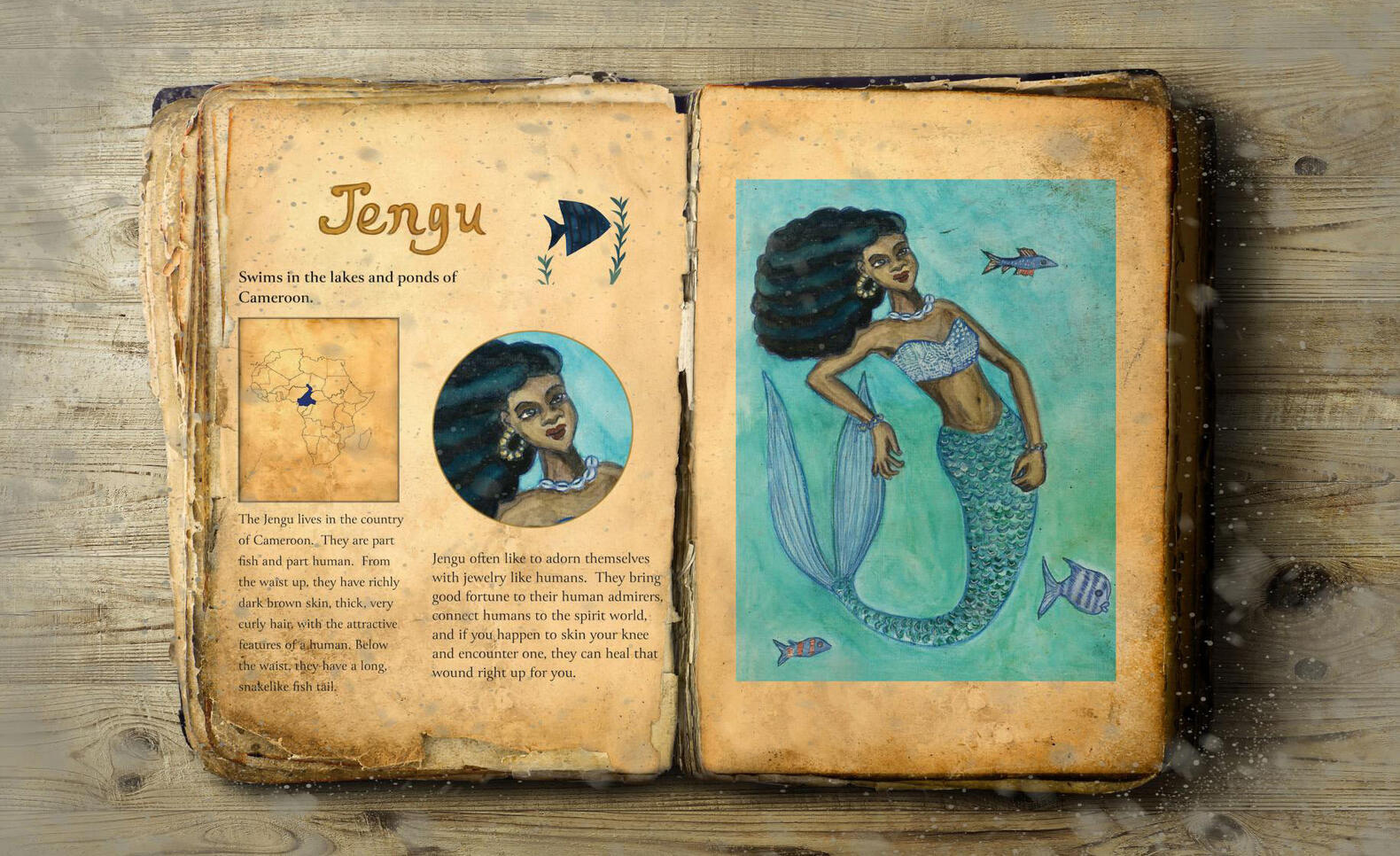 African Mythical Bestiary (Spread Mockup) by Danielle Hill ; Danielle Hill