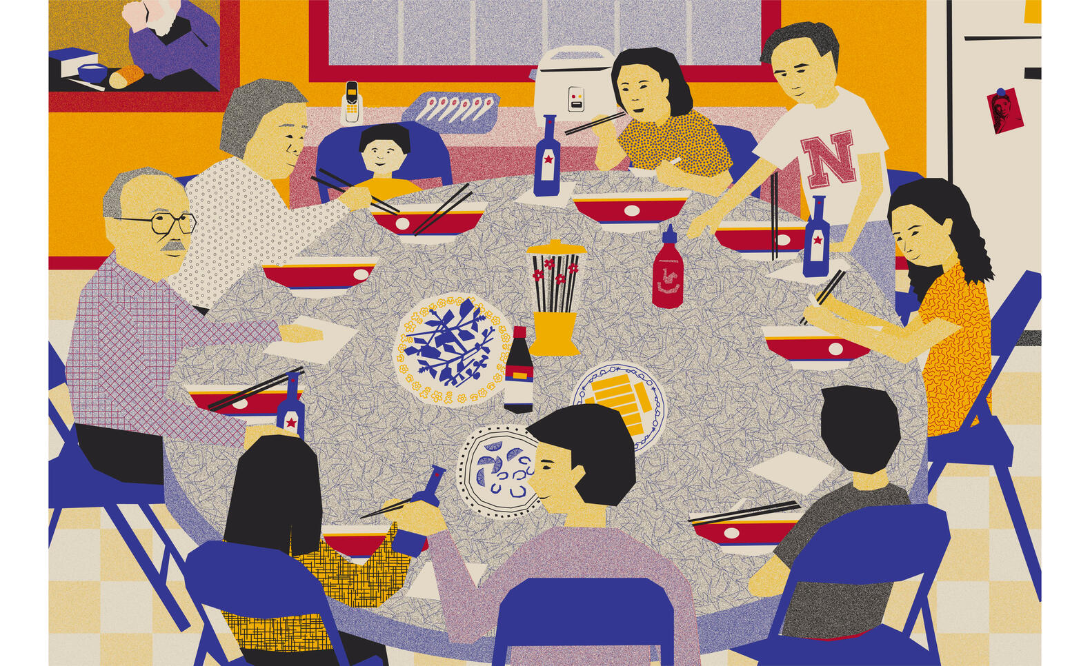 Artwork of a family dinner at a round table ; Anh Tran