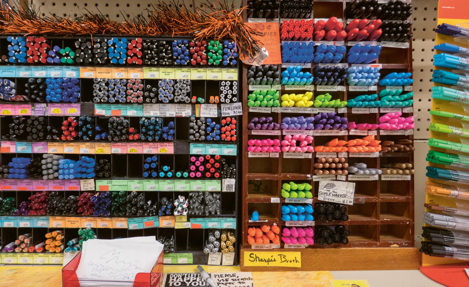 Pens and markers in the Art Cellar