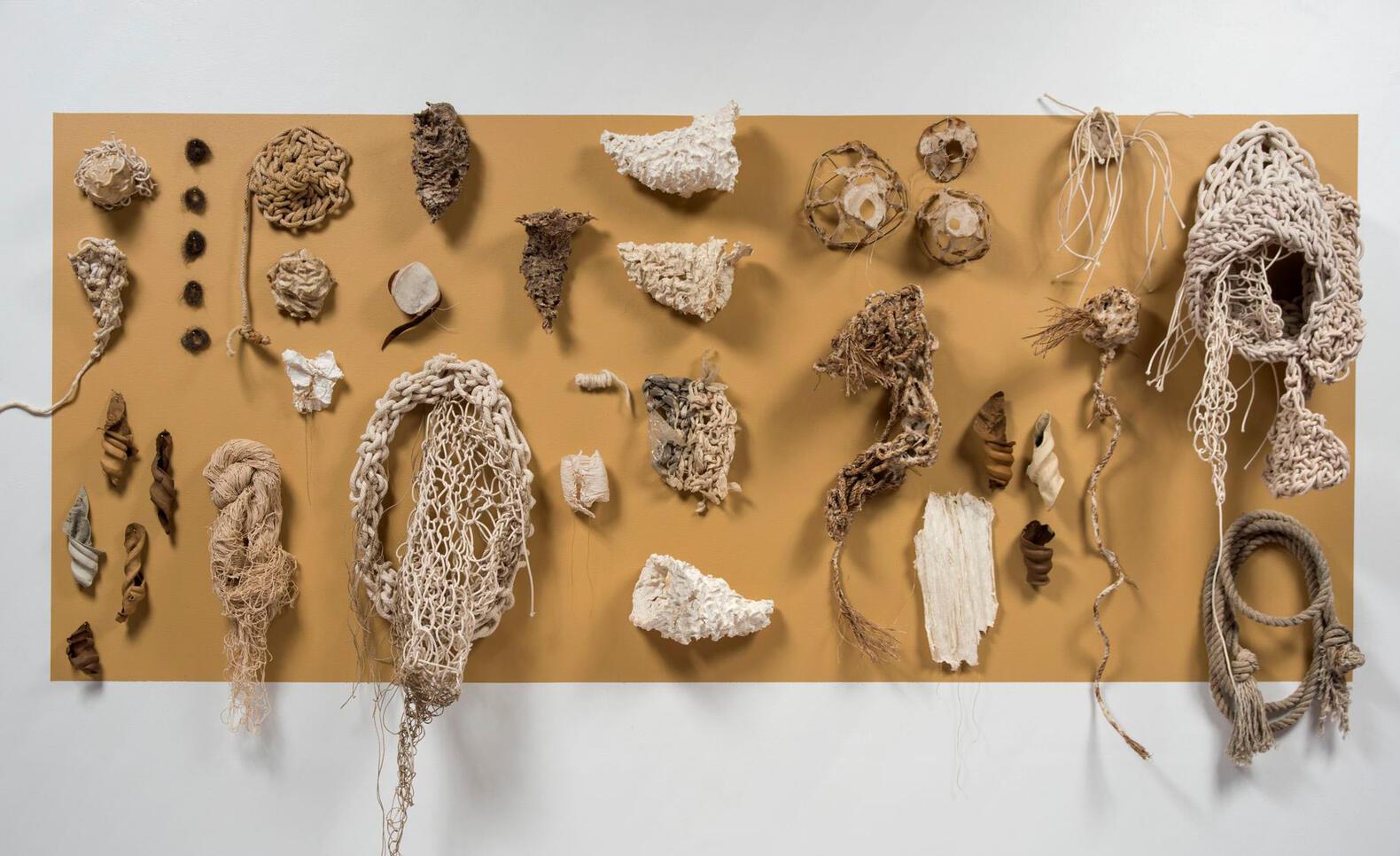 Circuits (Wall installation), 2017-18, abaca paper, leather, Karakul wool, sisal, cotton twine. Photo: Jerry Mathiason ; Marjorie Fedyszyn