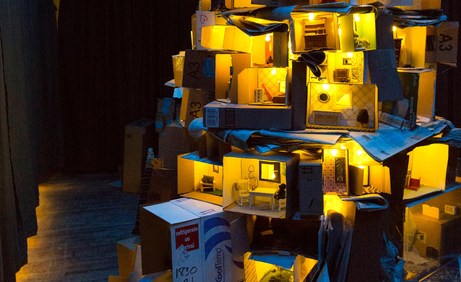 Light sculpture by an MFA student
