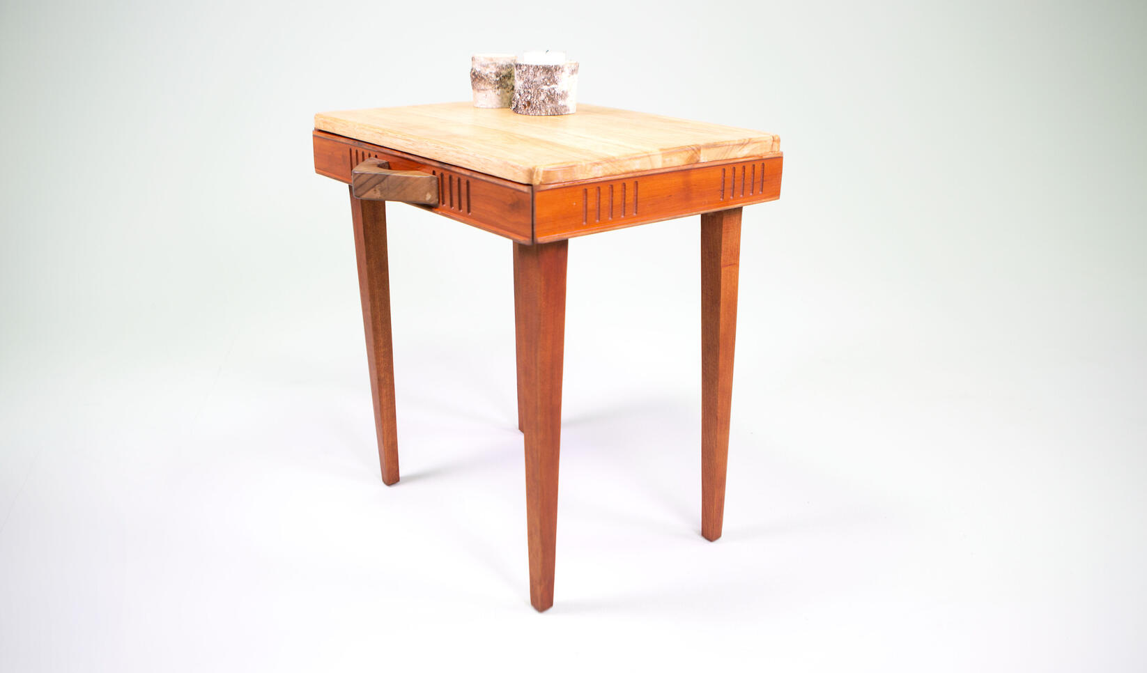 A wooden chess table with a drawer ; Chance Tatum