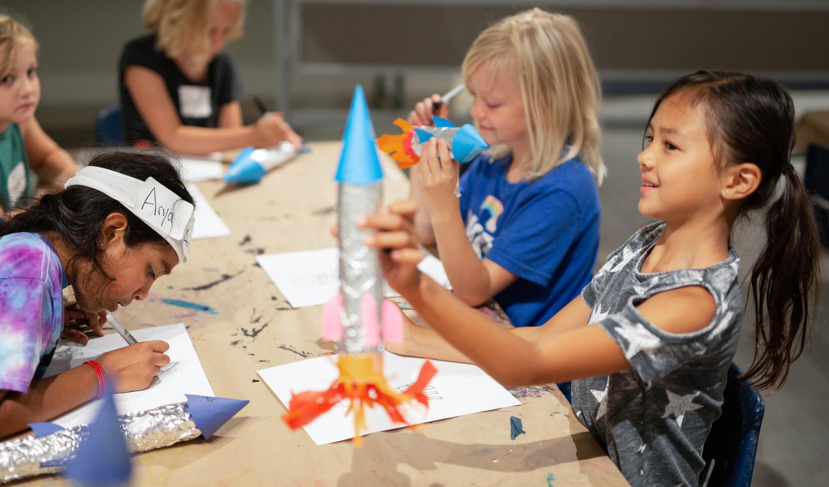 Students making rockets at Summer Youth Camps