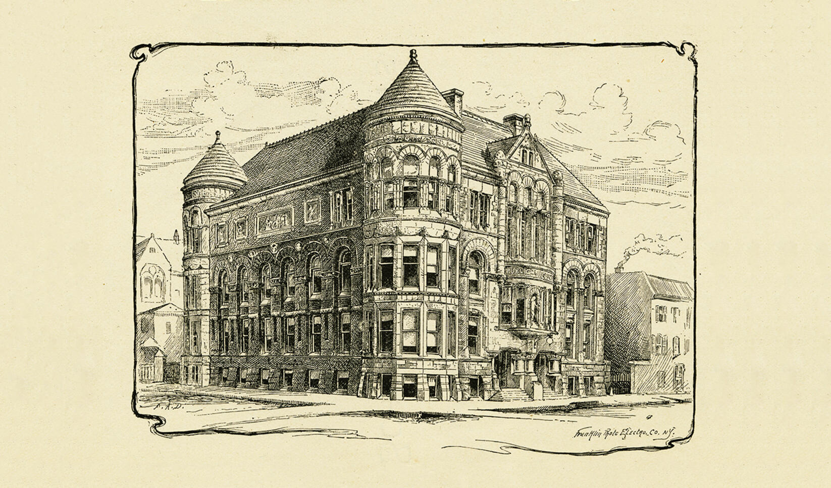 Illustration of the Public Library, which housed the Minneapolis School of Fine Arts