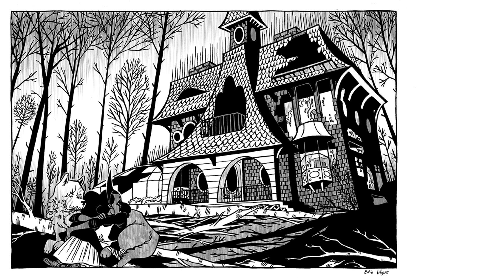 Comic panel of three characters crouching outside a spooky abandoned house. ; Edith Voges