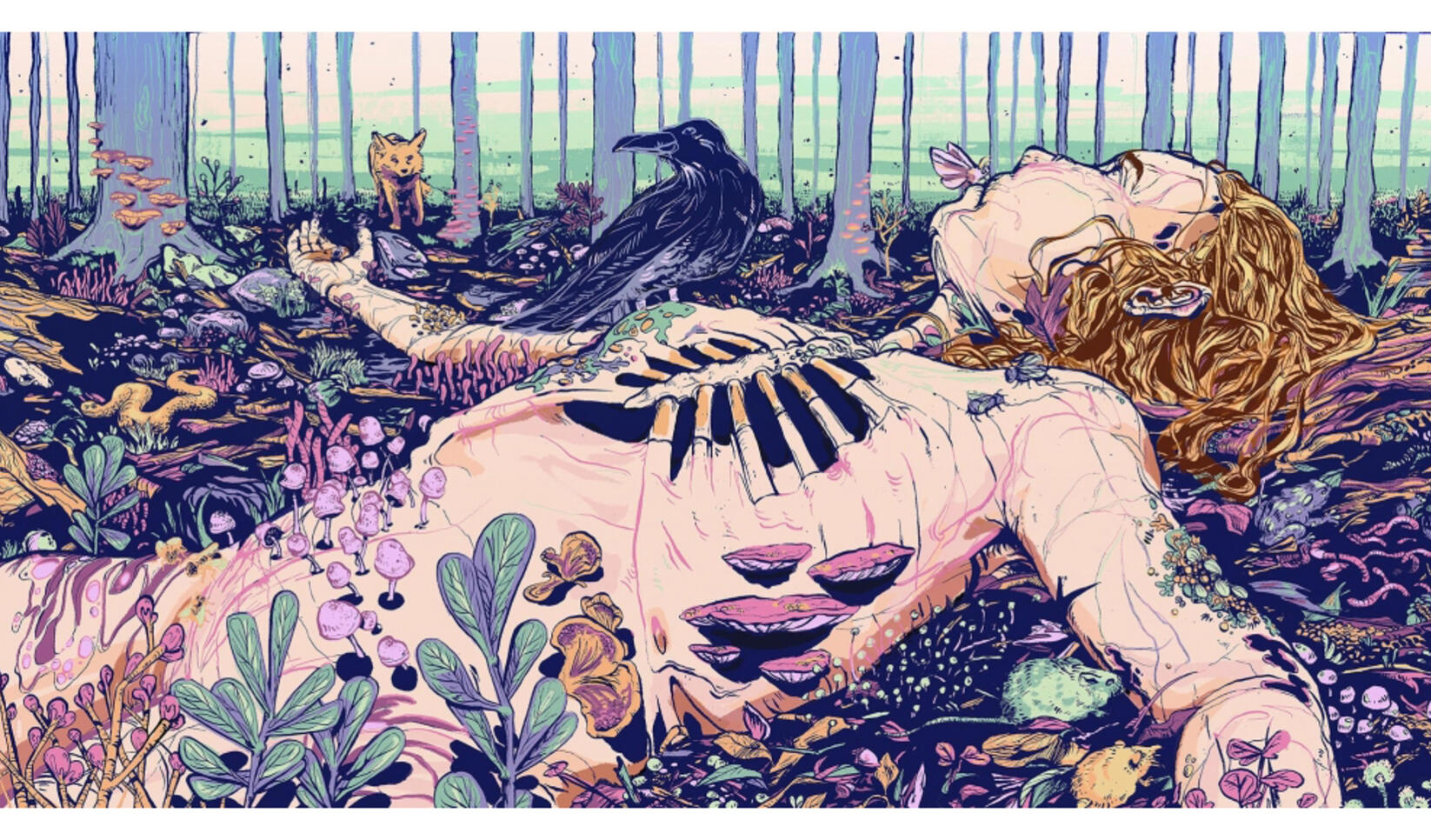 Illustration of a human body decaying and becoming the playground for nature ; Morgan Moen