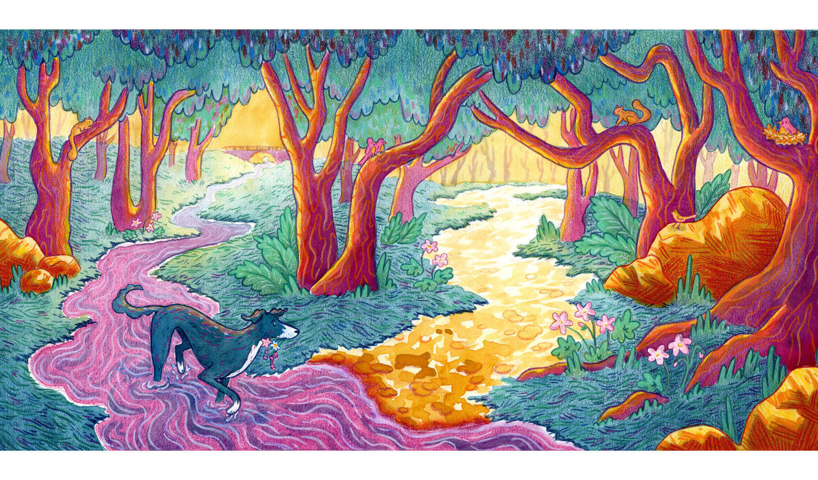 Landscape illustration by Kaila Larson ; Kaila Larson