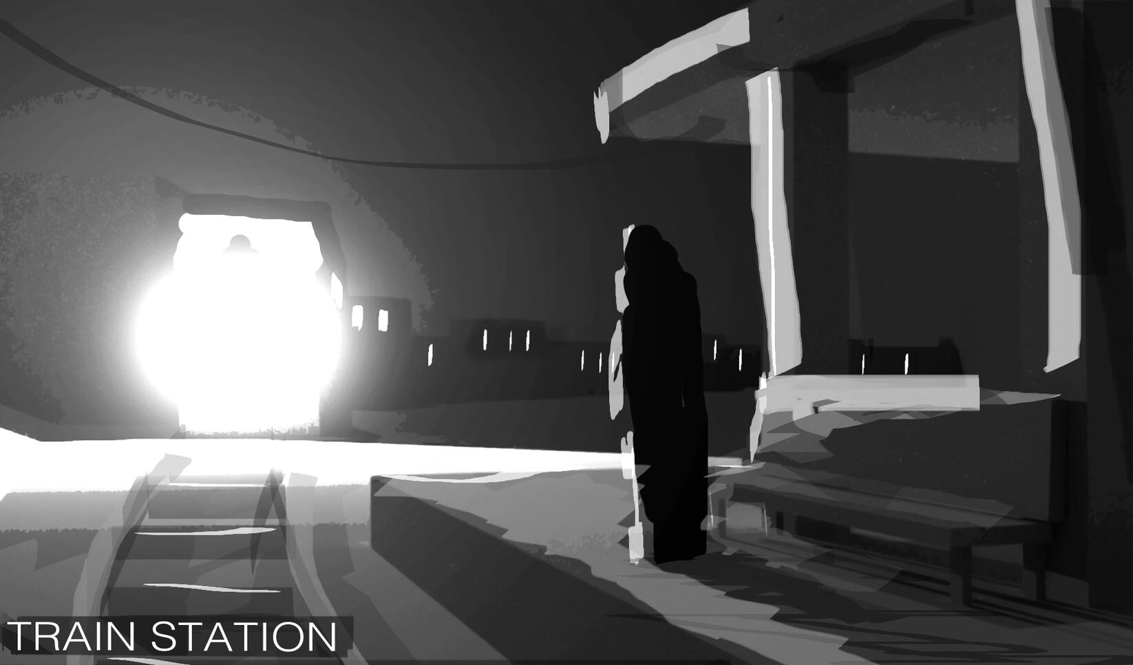 Background sketch for a potential animation taking place at the train station.  ; Johnathan Enslow