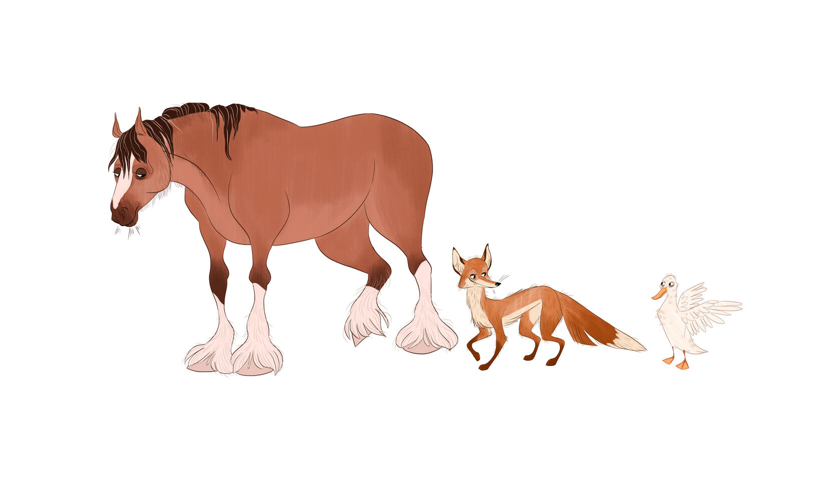 Animal character design for a horse, fox, and duck. ; Michayla Grbich