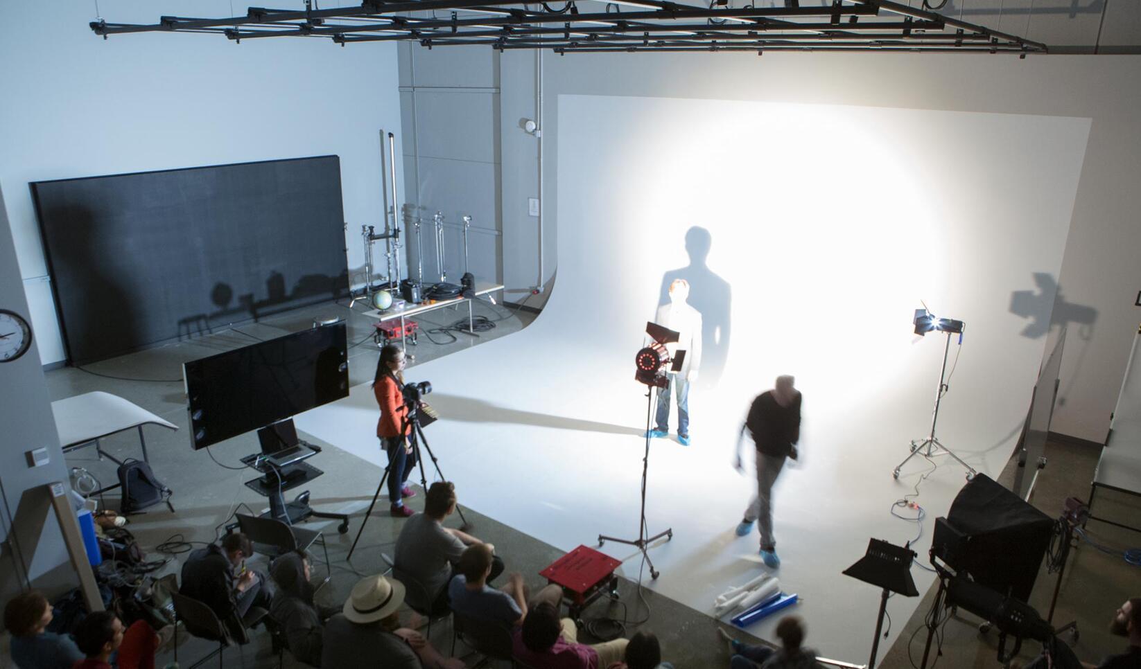 Overhead shot of the gray studio
