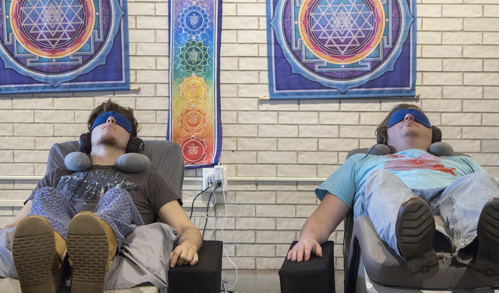 Students in massage chairs at MCAD Spa Day