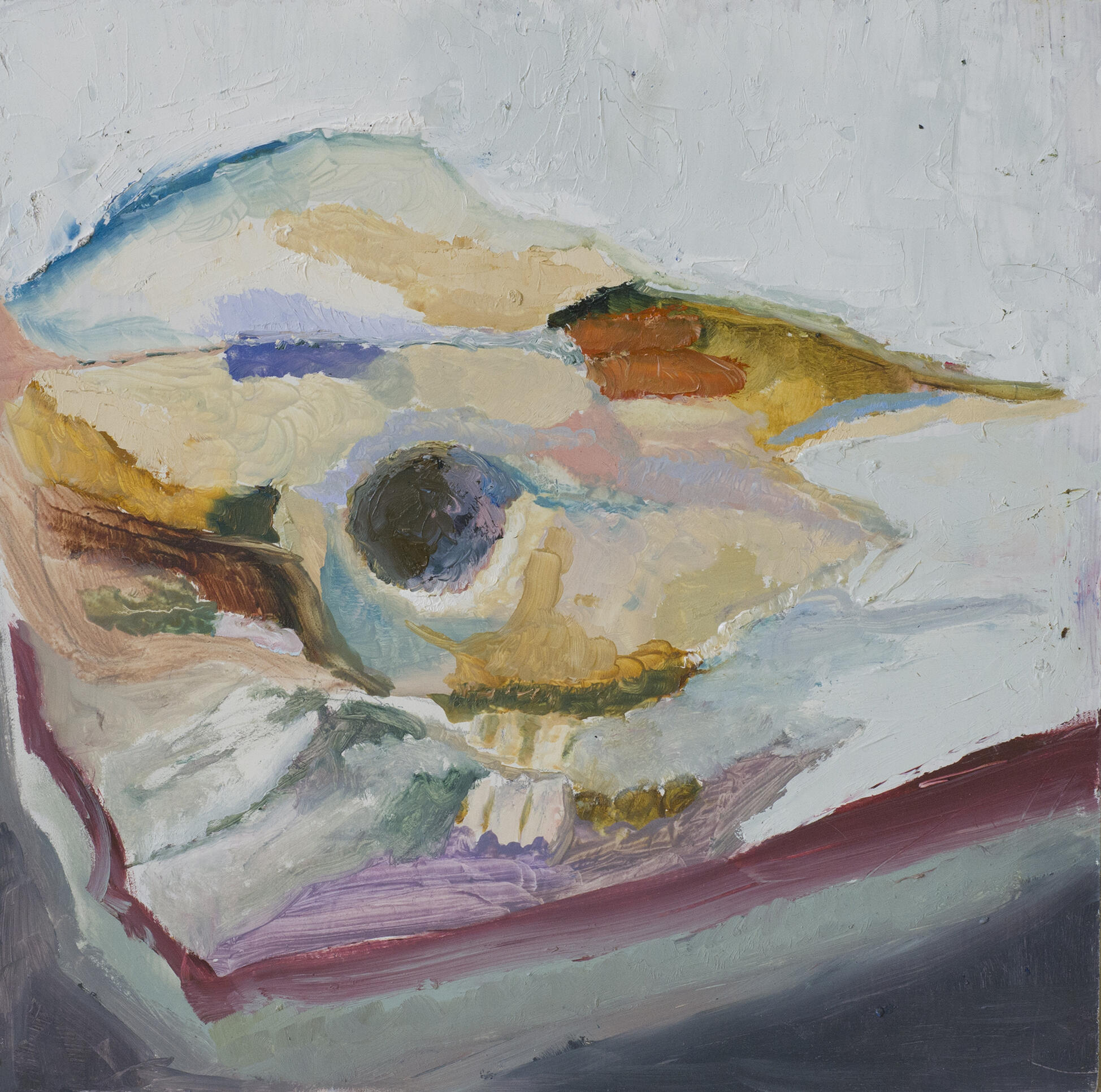 Pastel colored painting of animal skull. ; Kelly Graham