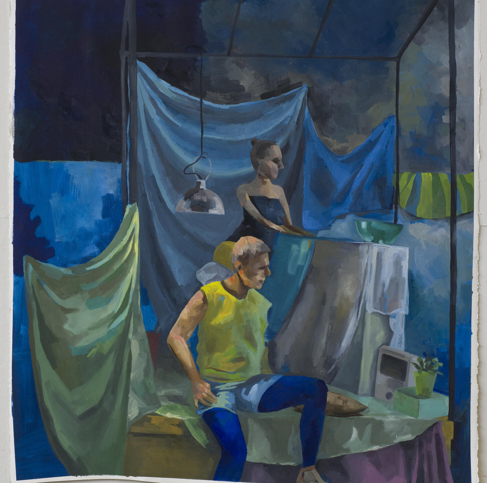 Painting of two figures in a still life setting with heavy drapery behind them. ; Kiki Kita