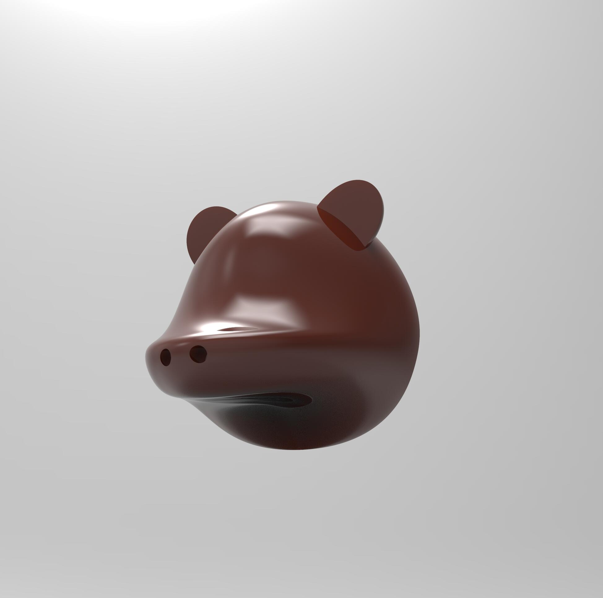 3D rendered model of a bear head. ; Rosie Colacino
