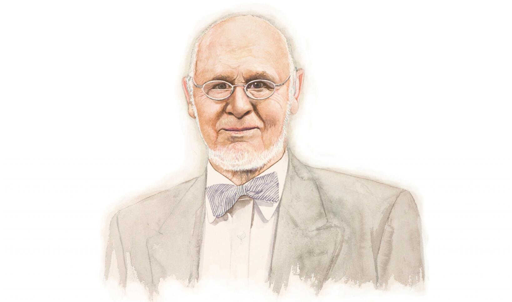 Illustrated portrait of Peter Seitz ; Michael Gaughan '02