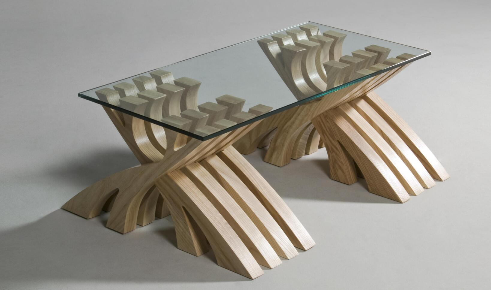 Photo of a table made by a furniture student ; Travis Bookler