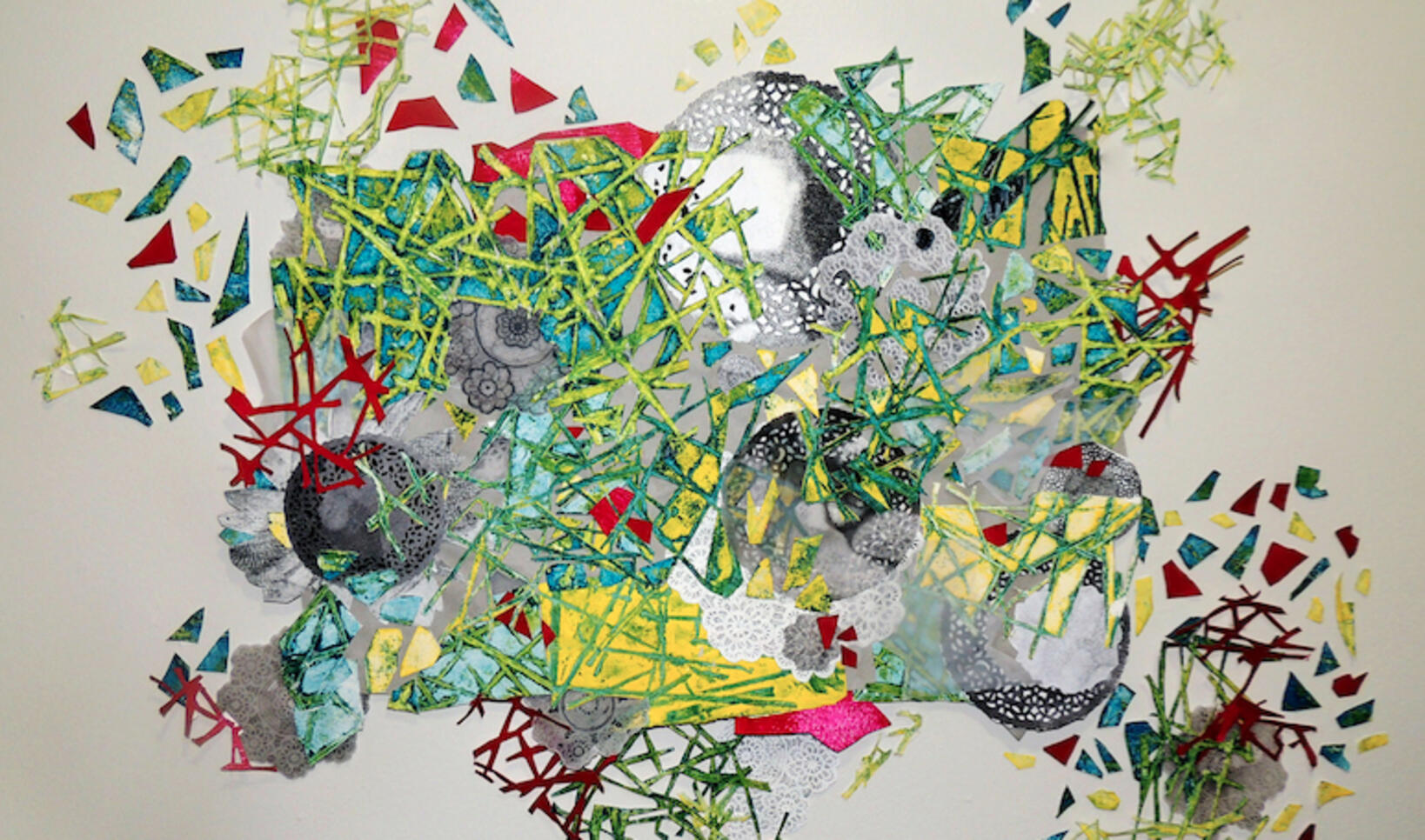 Pressed drawing composed of collage and different  textures, including lace. ; Alexis Weber