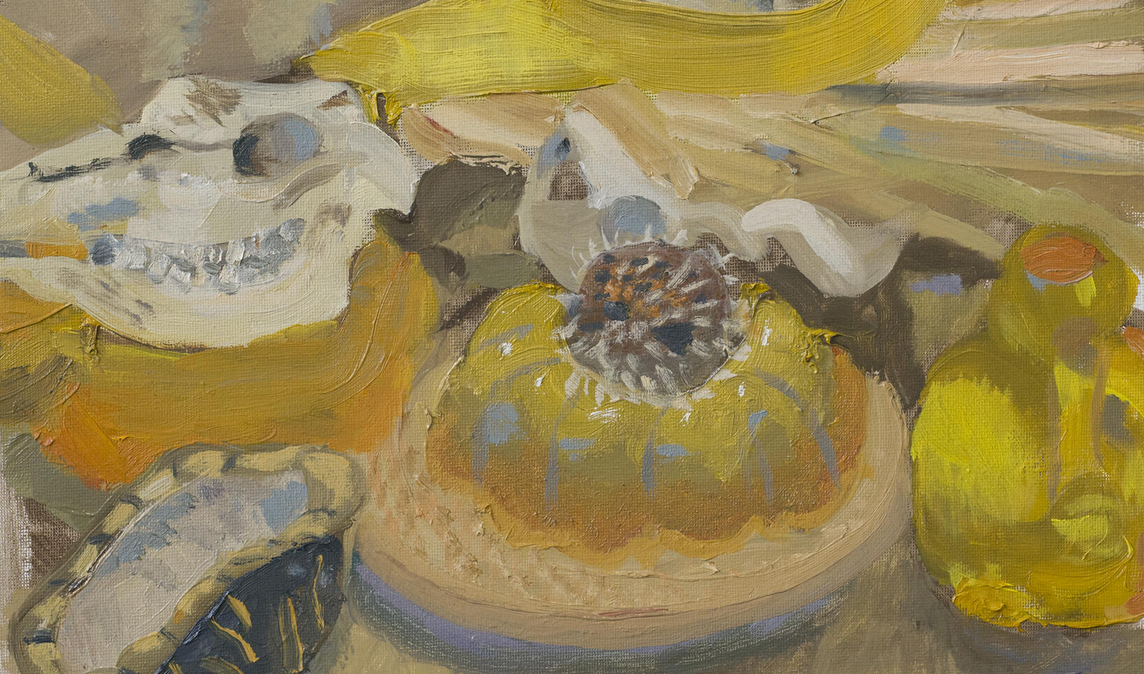 Closely set still life painting rendered in shades of yellow. ; Juliana Merkt