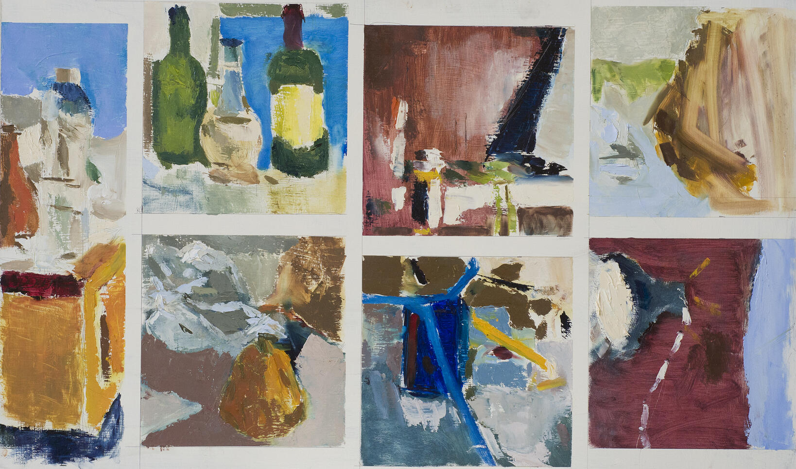 Compilation of seven still life paintings by artist. ; Joshua Smith