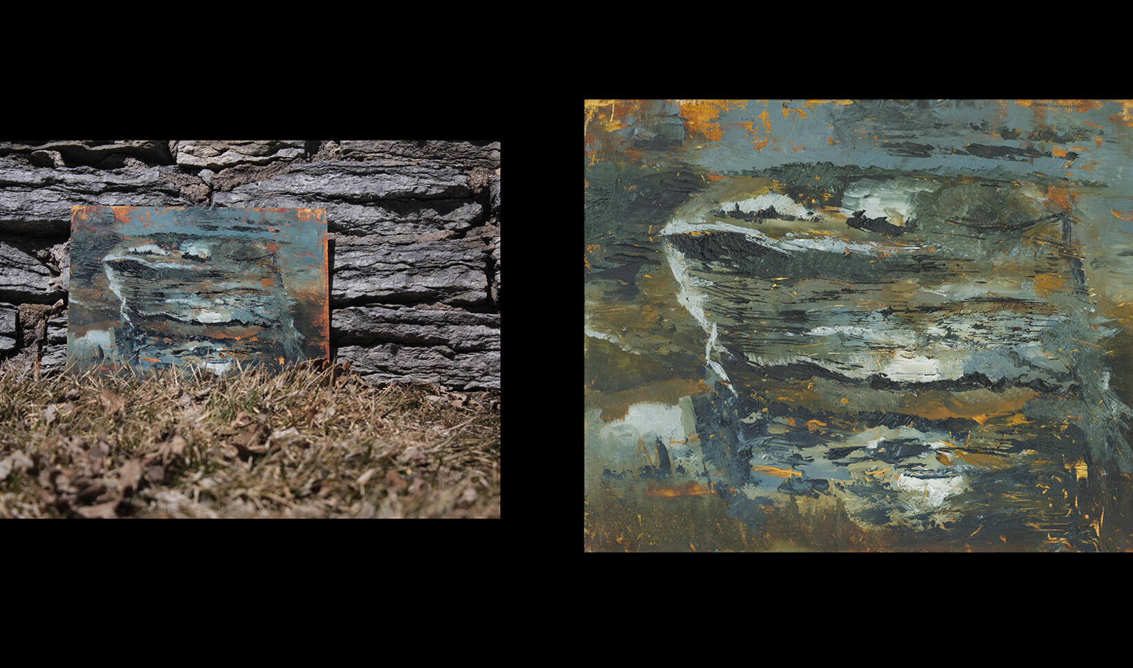 Oil painting of teal and gold shades and photograph of painting presented against rocks. ; Kelly Graham