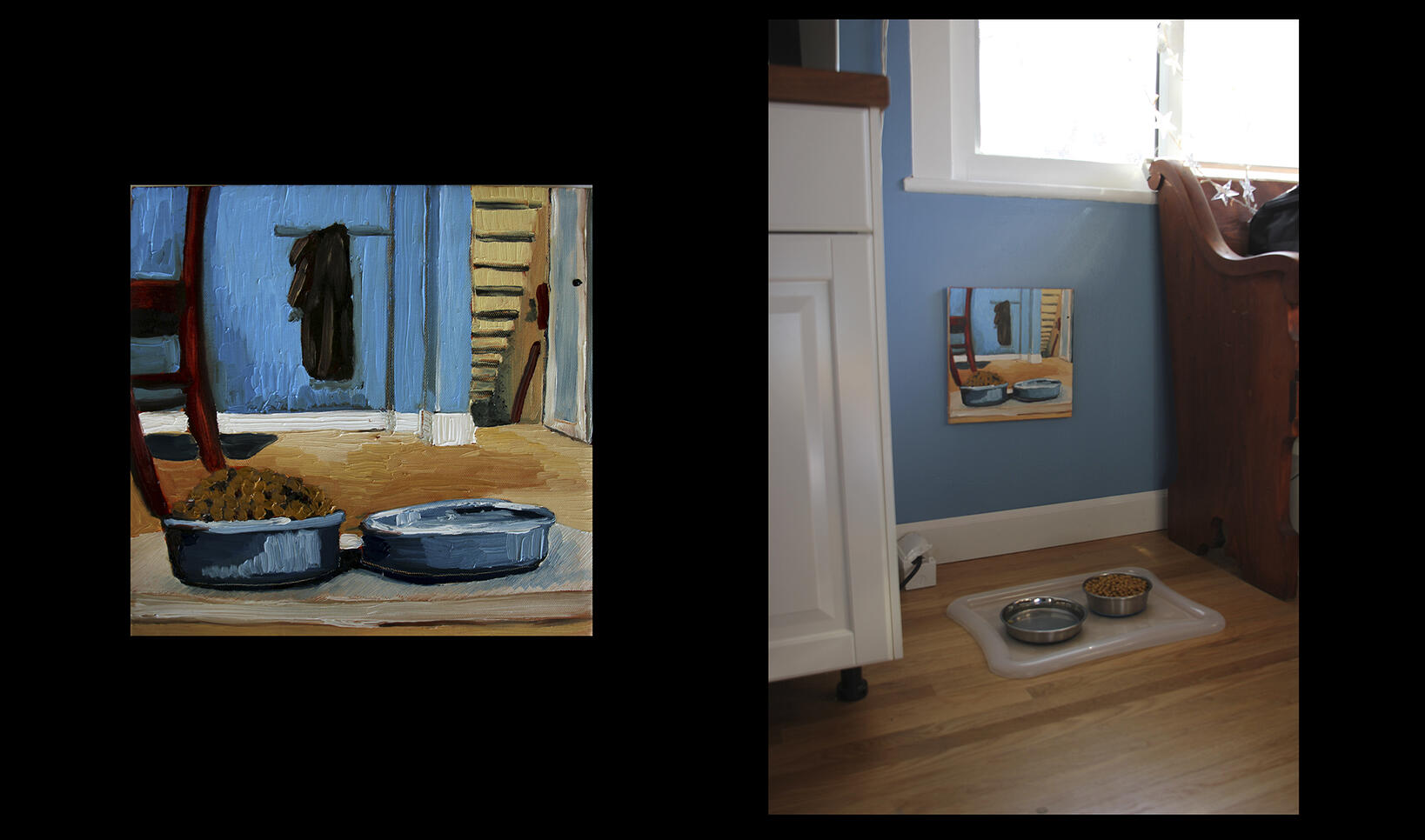 Dual photograph of an animal feeding bowls painting and the painting hanging above the bowls. ; Lindsey Hall