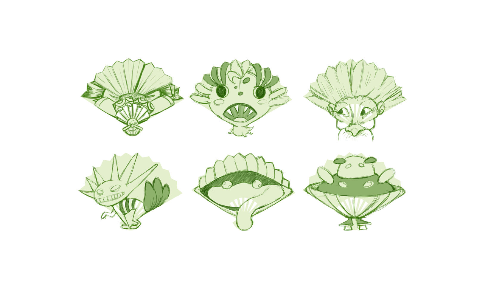 Six character designs shaped to fit silhouettes of a fan. ; Shannon McVay