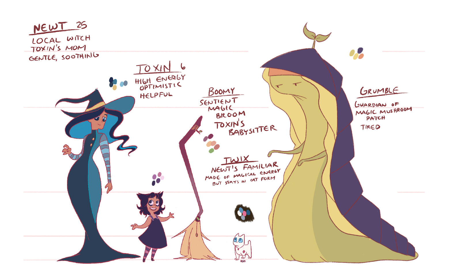 Animation project pitch about a witch, her daughter, and their familiars.  ; Taylor Zerull